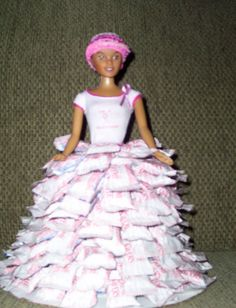 Candy doll made in honor of Breast Cancer Awareness.