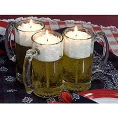 Beer Candles for tables from shindigs were a hit last year, buy several as party. Beer Candles for tables from shindigs were a hit last year, buy several as party favors this year for each couple Beer Birthday Party, 30th Party, 30th Birthday Parties, Birthday Party Decorations, 30th Birthday Ideas For Men, Men Party, Birthday Table, Table Decorations, Party Favors