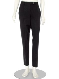 Stylish Theory black fine wool blend dress pants, featuring a low rise, pleated front, zip fly and extended tab button closure, slant pockets at the hips, faux flap covered pockets in the back, and a tapered leg with a 30