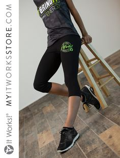 Bring It Capri Legging // Get ready for a new staple in your closet! The yoga capri leggings have a wide band on top and prominently features It Works! on the front. Whether you're running around the block or just running errands, this capri will have you covered!