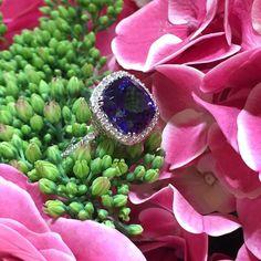 Les Facettes Amazing ring by Roxalana Jewelry , white gold, diamonds ,blue quartz .