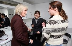 Camilla, Duchess of Cornwall (L) speaks to actress Sophie Grabol (R) in the make up caravan during a tour of the current set of TV drama 'The Killing' on March 27, 2012 in Lynge, Denmark. Camilla, Duchess of Cornwall and Prince Charles, Prince of Wales are on the last day of a Diamond Jubilee tour of Scandinavia that has taken them to Norway, Sweden and Denmark.