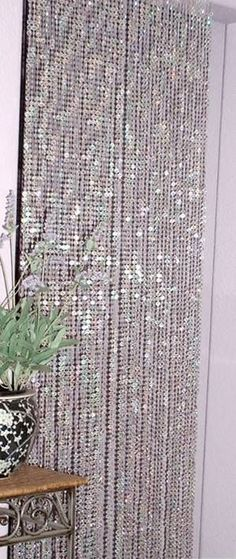 I want it....$28 Iridescent Diamond Jewel Beaded Curtain