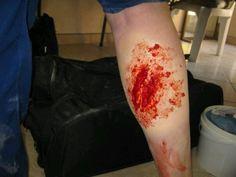 Prosthetic Make-up done on the leg.  Amazing!!