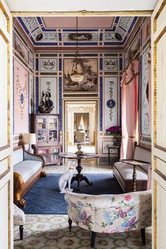 Pink embroidery, walls and ceiling in the Apollo room of Villa Valguarnera in Sicily
