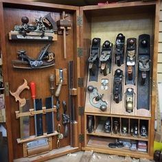 """957 Likes, 10 Comments - Fine Woodworking Magazine (@finewoodworkingmagazine) on Instagram: """"A glimpse into @bobvan.dyke 's tool cabinet at The Connecticut Valley School of Woodworking. I was…"""" #woodworkingtools"""