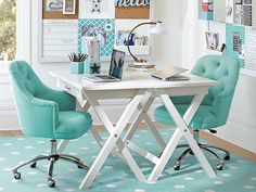 Desk set up for homeschool room: back to back simple x-desk (or other) with comfy cushioned chairs. A pod-like study space. Home Office Chairs, Room, Home Office Decor, Desk Inspiration, Home, Frame Desk, Study Furniture, Space Decor, Tufted Desk Chair