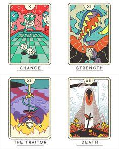 The Tarot (Major Arcana) illustrated by Joe Sparrow Available soon as for purchase as a deck! Game Card Design, Board Game Design, Tarrot Cards, Sparrow Art, Tarot Major Arcana, Illustrations And Posters, Tarot Decks, Steven Universe, Game Art