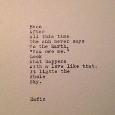 Hafiz Zitat auf Schreibmaschine getippt von WhiteCellarDoor auf Etsy