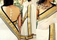 Kerala Kasavu Saree with a modern twist by designer Varun Gopen. Love the lace work on the saree blouse too. Onam Saree, Kasavu Saree, Kalamkari Saree, Kerala Saree Blouse Designs, Saree Blouse Patterns, Dress Patterns, Kerala Wedding Saree, Wedding Sarees, Sari Bluse