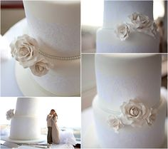 vintage roses and lace wedding cake by cake envy