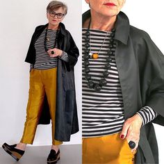 Ready for fall: shopping in my own closet. Mix and match with new shoes by Jil Sander. Older Women Fashion, 60 Fashion, Over 50 Womens Fashion, Fall Fashion Trends, Fashion Over 50, Autumn Fashion, Fashion Outfits, Gamine Style, Advanced Style