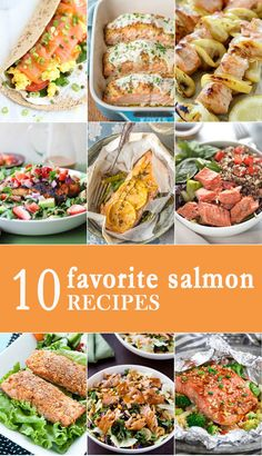 These 10 FAVORITE SALMON RECIPES will be your favorite easy seafood recipes the entire family will love! Everything from salmon in foil to baked and grilled with amazing sauces. YUM! via @beckygallhardin