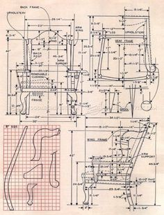 #157 Georgian Wing Chair Plans - Furniture Plans and Projects