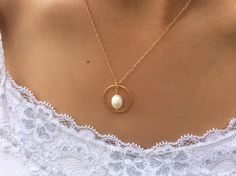 Gold Necklace pearl necklace mother of the groom by AvaHopeDesigns