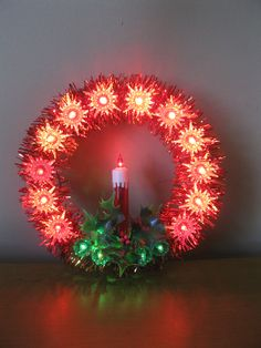 Vintage lighted candle wreath Tree Top -Window -wall -Beacon -18 light- original box -red tinsel- vintage Christmas -retro Christmas decor by oakiesclaptrap on Etsy