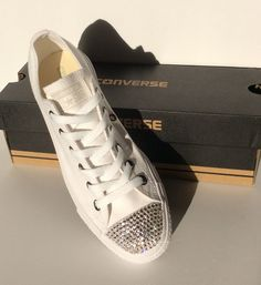 1848a36042 Womens ALL White Bedazzled Converse  Glitter Converse Shoes With Genuine  Swarovski Crystals Bedazzled Converse