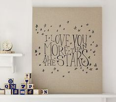 Stars Linen Canvas Nursery Art #pbkids