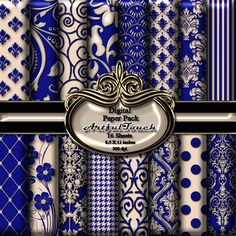 "Digital Paper, Digital Scrapbook Paper Pack, Royal Blue Damask, 16 Digital Background, (8.5"" X 11"" - 300 DPI) INSTANT DOWNLOAD"