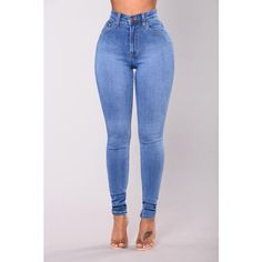 Precious Fit High Waisted Jean Medium ($43) ❤ liked on Polyvore featuring jeans, highwaist jeans, high rise skinny jeans, skinny leg jeans, blue jeans and high-waisted jeans