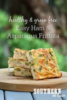Easy and Healthy Ham and Asparagus Frittata Recipe – perfect for a Spring or Easter brunch or made any time with canned asparagus, this recipe is gluten free, grain free, low fat, low carb and a clean eating recipe. Eggs are lightened up with plain greek yogurt and mixed with cheese and delicious fillings to create this easy crustless quiche - a great make ahead breakfast, brunch, lunch or dinner!
