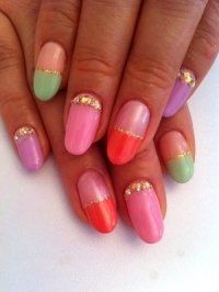 Pictures : French Manicure Designs and Ideas - Multi Colored French Nails
