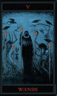 Five of Wands, from The Gothic Tarot by Joseph Vargo. I do not much like what I have seen of this deck, but this image is quite amazing.