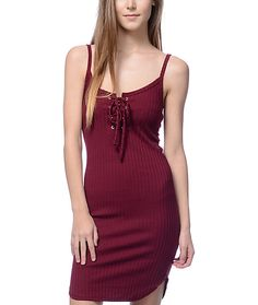 5936afdc05 Lunachix Jill Lace Up Burgundy Tank Dress. Dark Red ...