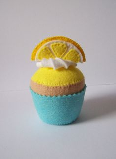 Felt lemon cupcake pincushion play food by Hippywitch on Etsy, £5.00