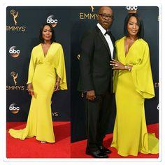 Angela Bassett & husband at 2016 Emmys