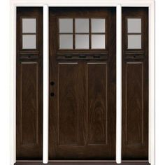 Feather River Doors 63.5 in. x 81.625 in. 6 Lite Clear Craftsman Stained Chestnut Mahogany Fiberglass Prehung Front Door with Sidelites