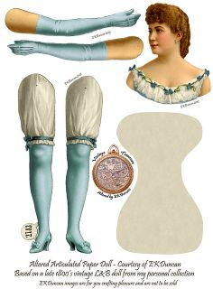 LL Prima Donna L&B Jointed Paper Doll parts - Aqua by ekduncan, via Flickr