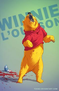 """Winnie the Pooh Badass"" French illustrator Sylvain Sarrailh has created a series of ""Badass"" illustrations of classic childhood characters. Cartoon Cartoon, Cartoon Tv Shows, Horror Cartoon, Childhood Characters, Cartoon Characters, Rugrats, Smurfs, Geeks, Shrek"
