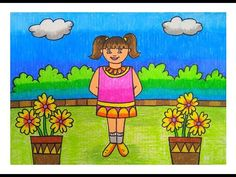 Art Drawings For Kids, Drawing For Kids, Easy Drawings, Animal Drawings, Art For Kids, Art Illustrations, Illustration Art, Drawing Scenery, Oil Pastel Drawings