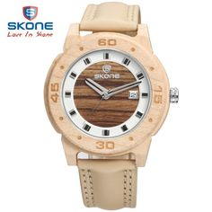 56.52$  Buy now - http://alizzl.worldwells.pw/go.php?t=32761776778 - SKONE Fashion Dress Leather Wood Men Watch Top Brand Luxury Quartz Watches Wooden Clock Relogio Masculino Montre Homme Hodinky 56.52$