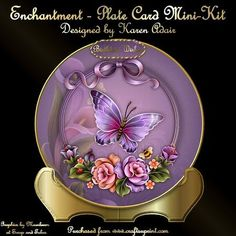 """Enchantment Plate Card Mini Kit on Craftsuprint designed by Karen Adair - This mini-kit will make make this pretty plate card and matching stand. The plate is 7"""" in diameter. The stand is in gold to match the gold rim of the plate. There are 7 sentiment tags, one left blank for you to personalise if you wish, and plenty of decoupage. If you like this, please check out my other designs, just click on my name. - Now available for download!"""