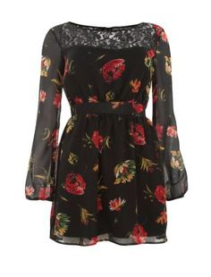 Mela Black Rose Print Lace Panel Dress