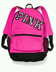 Victoria's Secret PINK Campus Backpack Pink Sequin Logo Bookbag School Travel  #VictoriasSecret #Backpack