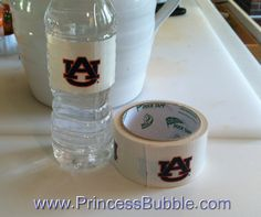 Make your college tailgating water by using college tape.