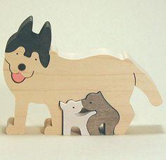 組み木 木のおもちゃ 『遊プラン』 KA766   シベリアンハスキー・MC