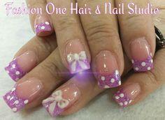#pink #3Dbows  #pokadots #funnails #coloredacrylic  #nailsbytammy