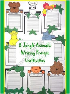 Writing Prompt Craftivities: Zoo and Jungle Animals
