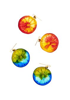 Lucy Folk presents ALL SORTS - Resort 13/14 - BLOOD ORANGE  LIME SPLICE COCKTAIL EARRING