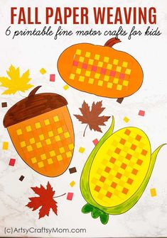 Paper Weaving Fall Printables - Fine Motor Activity These Paper Weaving Fall Printables are perfect to strengthen and keep those little fingers busy this season! Also helps to improve concentration and hand-eye coordination in little kids. Fall Paper Crafts, Easy Fall Crafts, Sand Crafts, Crafts For Kids To Make, Autumn Crafts For Kids, Thanksgiving Crafts, Diy Paper, Holiday Crafts, Cute Kids Crafts