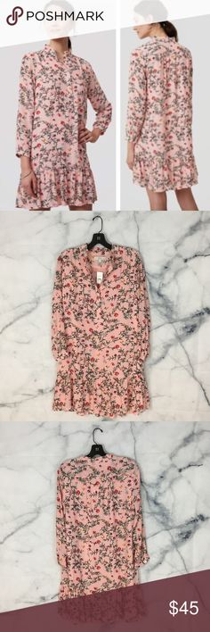 """NWT LOFT Gardenia Flounce Floral Dress LOFT dress in a pink color with a floral pattern. Buttons down at the neckline. New with tags!  Measurements: • Pit to pit - 20"""" • Length from shoulder to hem - 33"""" LOFT Dresses"""