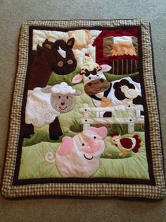 Nojo Farm Babies Crib Quilt Barnyard Animals Cow Chicken Pig Sheep EUC - Other
