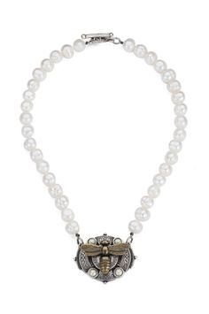 French Kande Freshwater Pearl Medallion Necklace