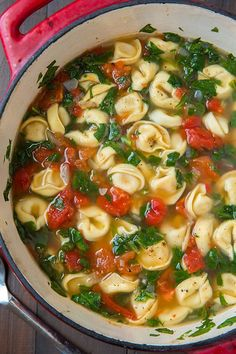 Fresh Spinach Tomato and Garlic Tortellini Soup - love this soup! Easy to make yet so delicious! Canned tomatoes can be substituted for the fresh.