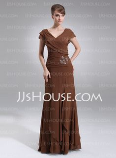 A-Line/Princess V-neck Floor-Length Chiffon Mother of the Bride Dress With Ruffle Beading (008006059) - JJsHouse