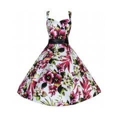 Tropical Floral White Red Lily Swing Dress ($54) ❤ liked on Polyvore featuring dresses, lilies, pink, white dresses, red dress, holiday party dresses, pink cocktail dress and red cocktail dress